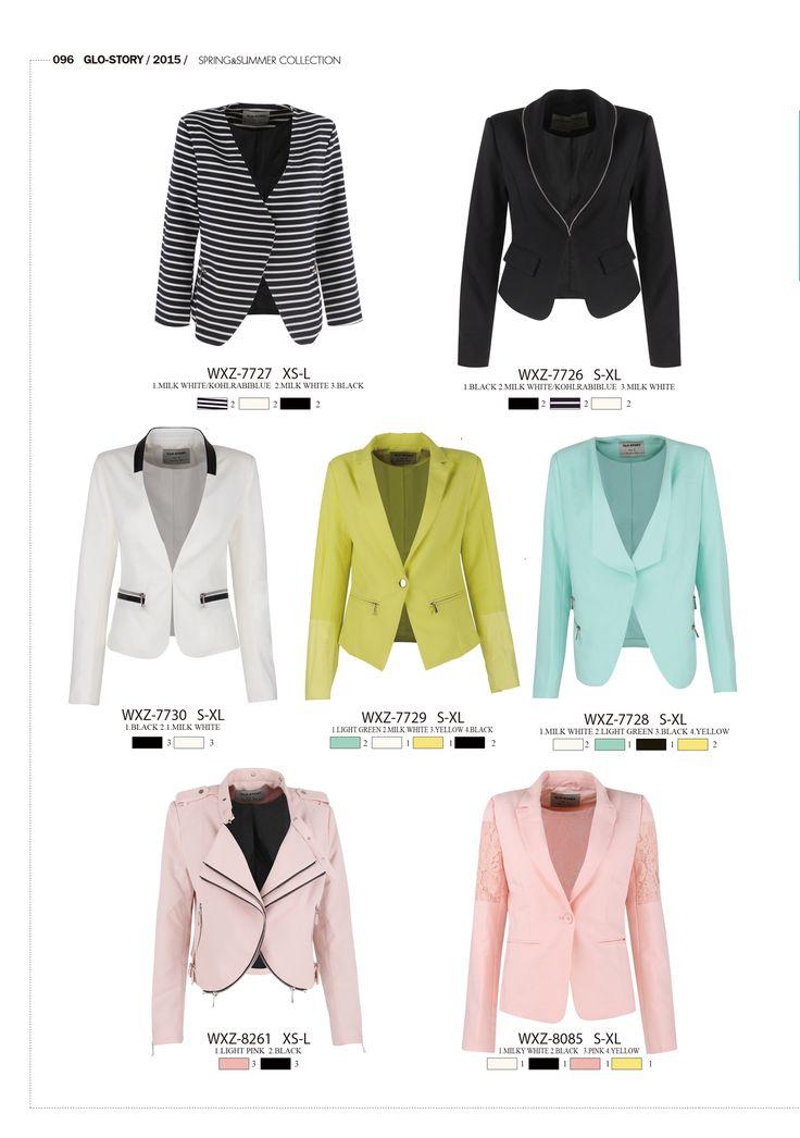 Smart and casual blazers by Glo-Story  #forwomen #clothing #fashion #glostory #grey #jacket #blazer #kiwi #babyblue #black #white