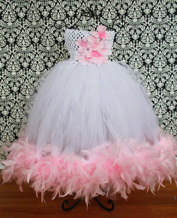 I could totally see Sky running around in this!  Pink and White Feather Boa Tutu Dress hydrangea by FrostingShop.