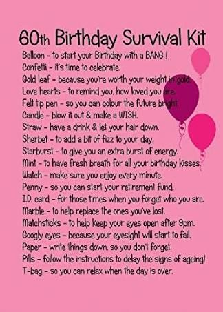 Image result for image 60th birthday survival kit