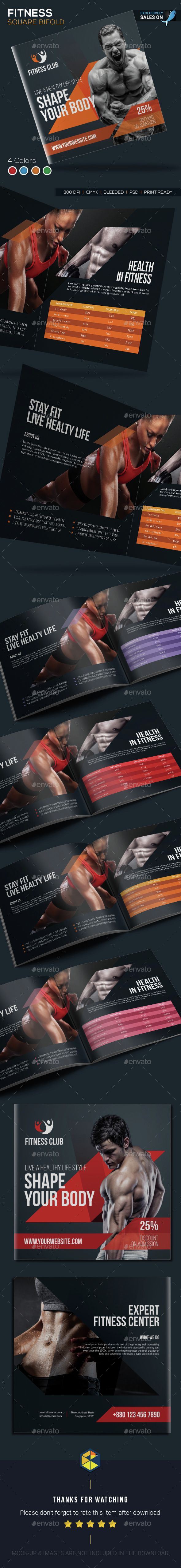 Fitness Square Bifold Brochure - Corporate #Brochures | Download http://graphicriver.net/item/fitness-square-bifold-brochure/15314132?ref=sinzo