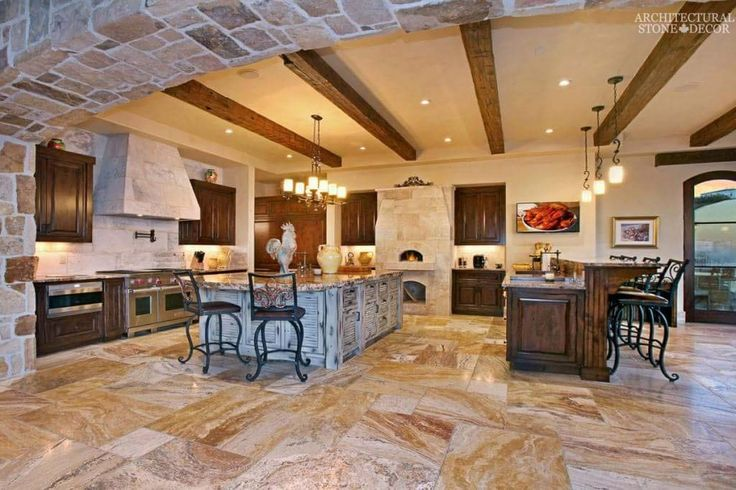 #Mediterranean #Tuscan #kitchen #hood pizza #oven #reclaimed #hand carved #limestone #marble countertops Canada Toronto