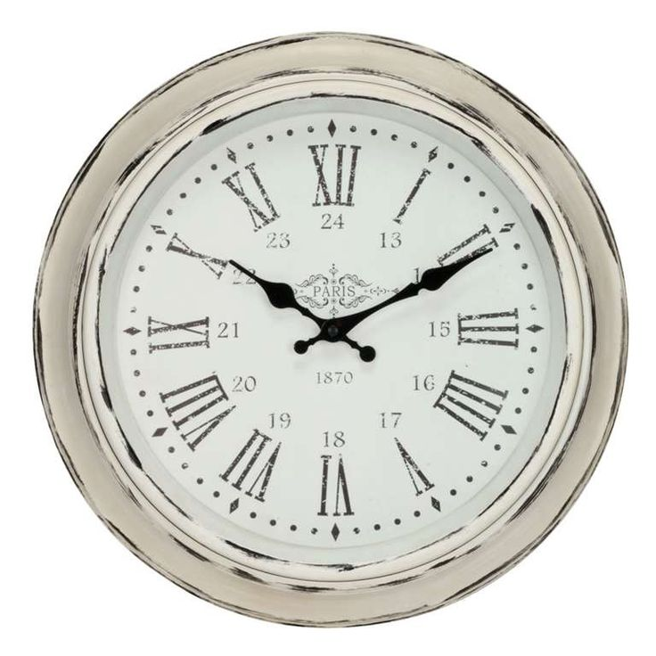 Round cream antique wall clock