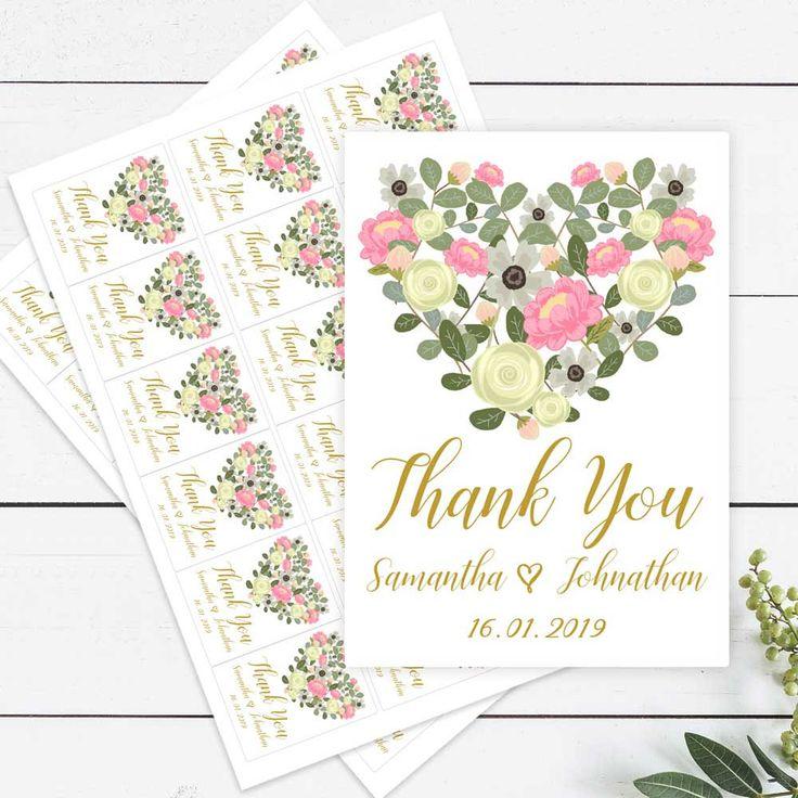 Printed Personalised Sticker Labels - Floral Heart Design - Envelope Seals - Bomboniere - Favours