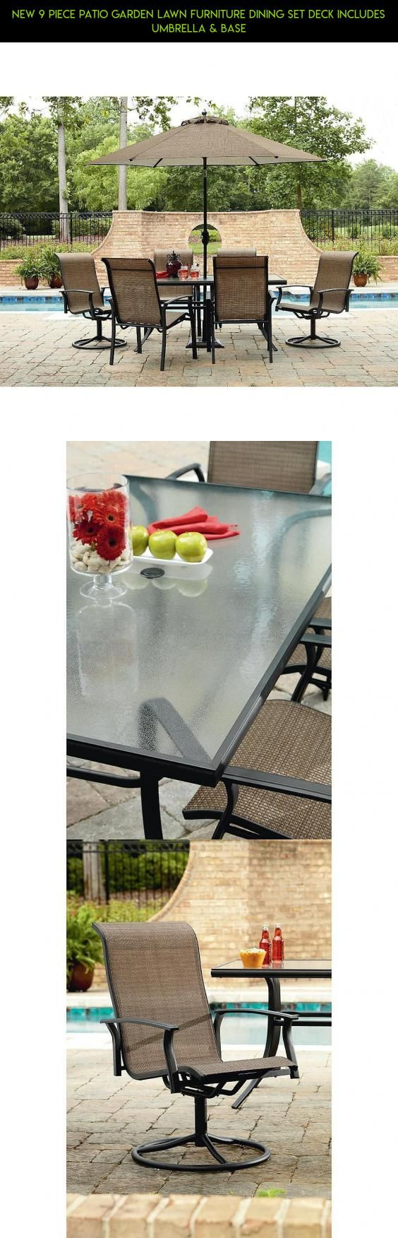 NEW 9 Piece Patio Garden Lawn Furniture Dining Set Deck INCLUDES UMBRELLA U0026  BASE #products