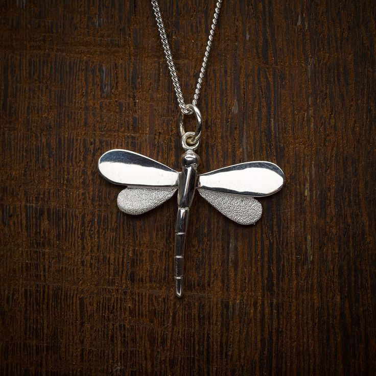 Sterling silver large dragonfly pendant