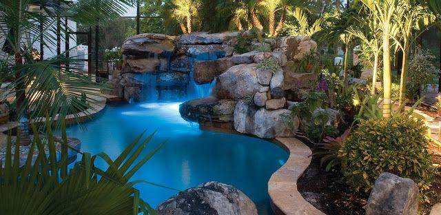 35 Piscinas Incriveis Cachoeiras Grutas E Plantas Exoticas No Quintal Pool Waterfall Lagoon Pool Pool