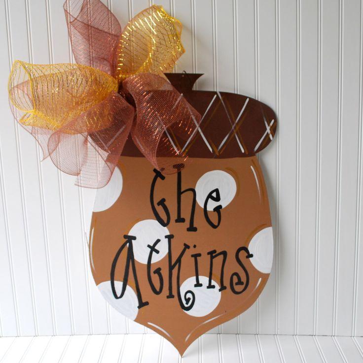 Fall Door Hanger, Acorn Door Decoration, Fall Home Decor, Fall Wreath by LooLeighsCharm on Etsy https://www.etsy.com/listing/106889990/fall-door-hanger-acorn-door-decoration
