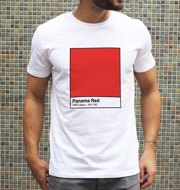 T-shirt pour Homme Panama Red Kush de couleur Blanc