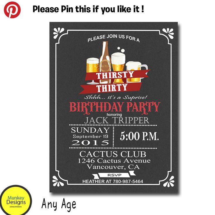 The 25 best Mens 30th birthday ideas – Surprise 30th Birthday Party Invitations