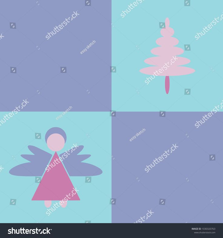 illustration angel and christmas tree simple, human, winter, symbol, icon, vector, illustration, angel, fabric, wallpaper, background, napkins, blanket, rug, tree, christmas, fashion, trend, design, purple, pink, celebration, patchwork, holiday, faith, church, christian, catholic, fir tree, peace, heaven, divine, holy, square, blue