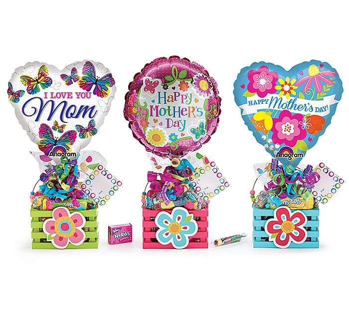 """#burtonandburton Mother's Day Gift Crate Assortment.<br>Wood crate, 9"""" air-filled balloon, pre-wrapped branded candy, ribbon curls, cellophane,   card.<br><br>Set of 6.<br>Assortments are subject to substitutions."""
