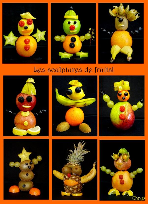 Sculptures de fruits http://lejournaldechrys.blogspot.fr/2011/10/sculptures-de-fruits.html