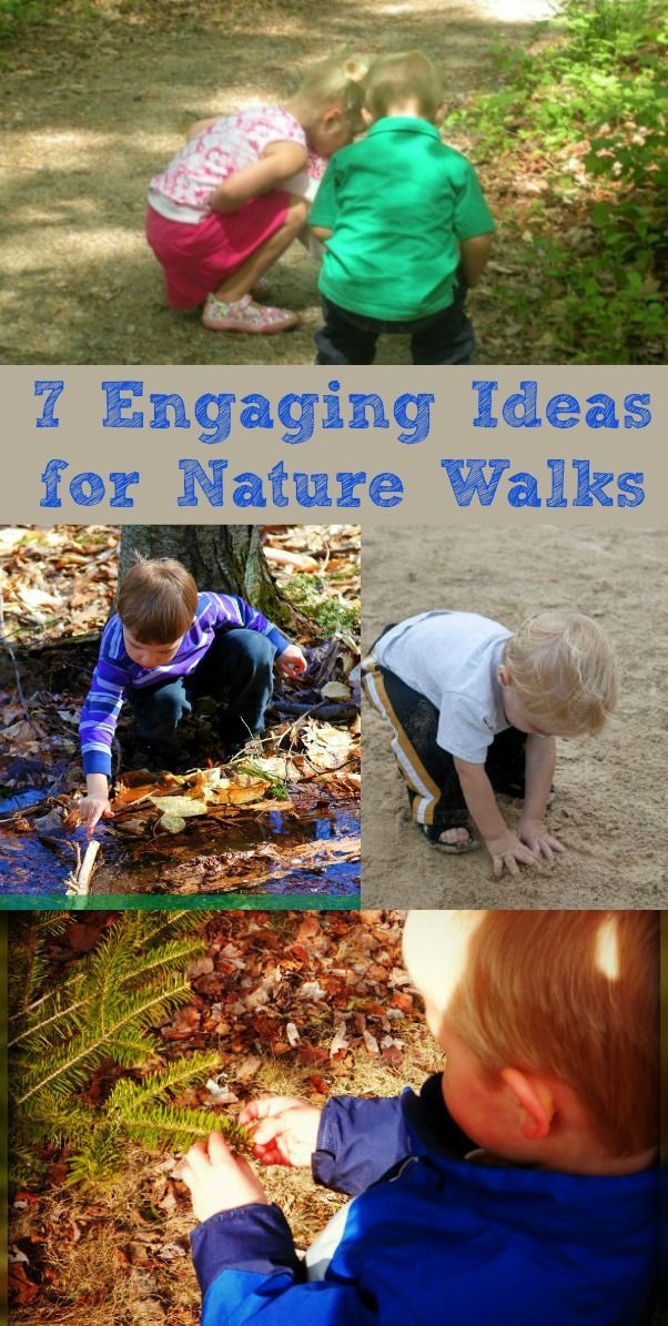 "Fun ideas for keeping kids engaged on a nature walk or hike -- so you won't have to hear ""how much longer"" :)"