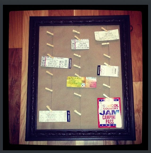 concert ticket display need frame foam board guitar strings and small clothes