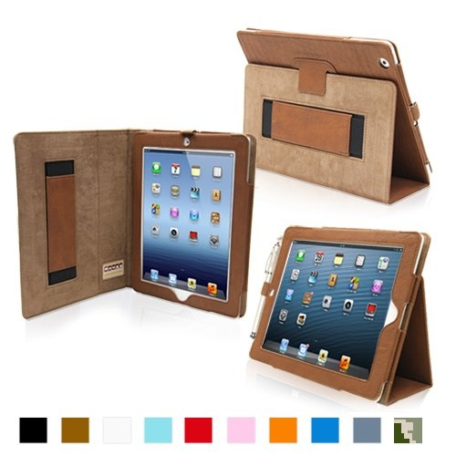 Best iPad 4 Case - Snugg  Cool colors for kids - baby blue, desert camo, orange, denim, red, brown and black comes with a stylus holder - children will not loose their stylus pen elastic hand strap for added grip cover flips to stand the table in 2 horizontal positions for typing, playing games, FaceTime and movie watching