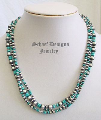 Turquoise & Sterling Silver Navajo Pearl 3 Strand Necklace | collectible Southwestern & turquoise Jewely | Schaef Designs Southwestern turquoise Jewelry | New Mexico