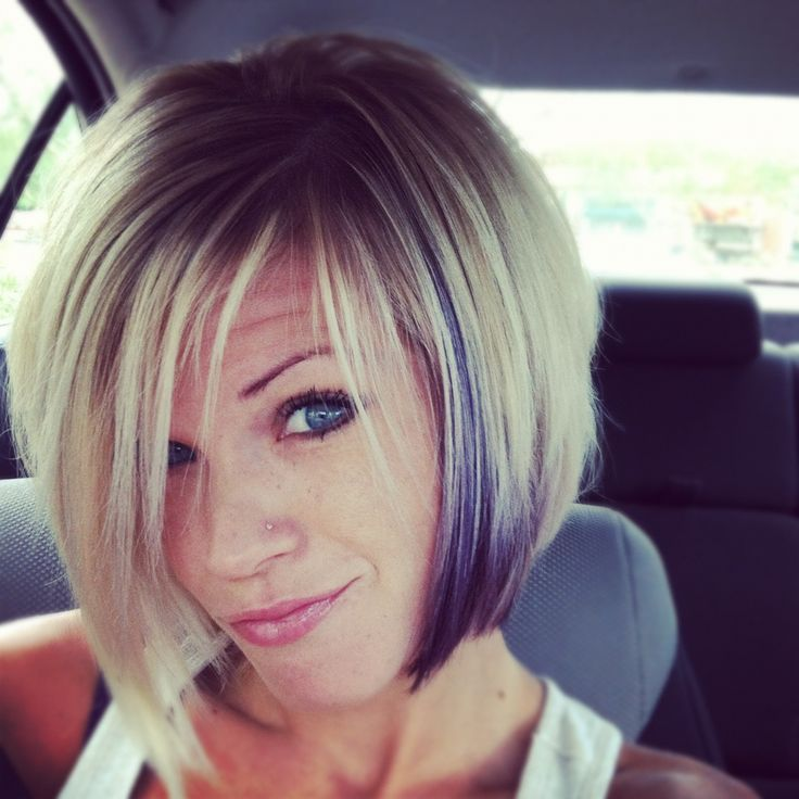 Lovin my new hair! Short purple and blonde! So fun!
