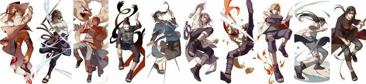 Naruto, Sasuke, Gaara, Shikamaru, Haku, Orochimaru, Kakashi, Anbu, Minato, Fourth Hokage, Neji, Itachi, Akatsuki, cool; Naruto