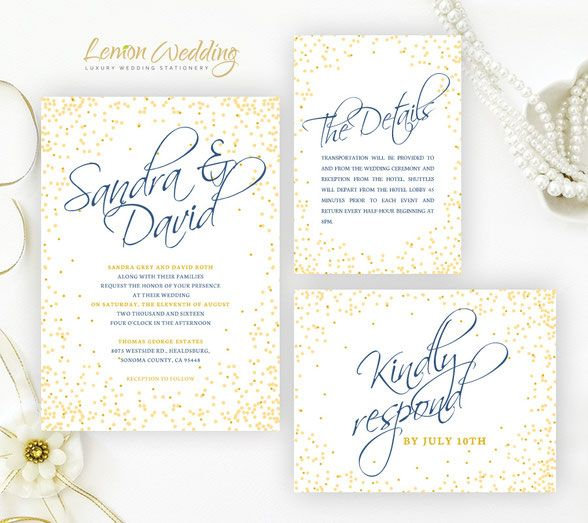 24 best invitation images on pinterest beautiful wedding yellow and royal blue wedding invitation kits printed on pearlescent paper stopboris Choice Image