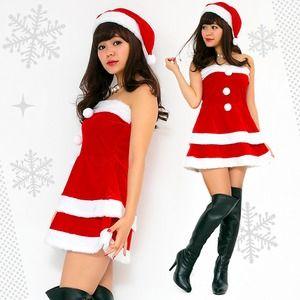 【クリスマスコスプレ 衣装】Peach×Peach レディース エレガントサンタクロース サンタコスプレ女性用 ワンピース - 拡大画像
