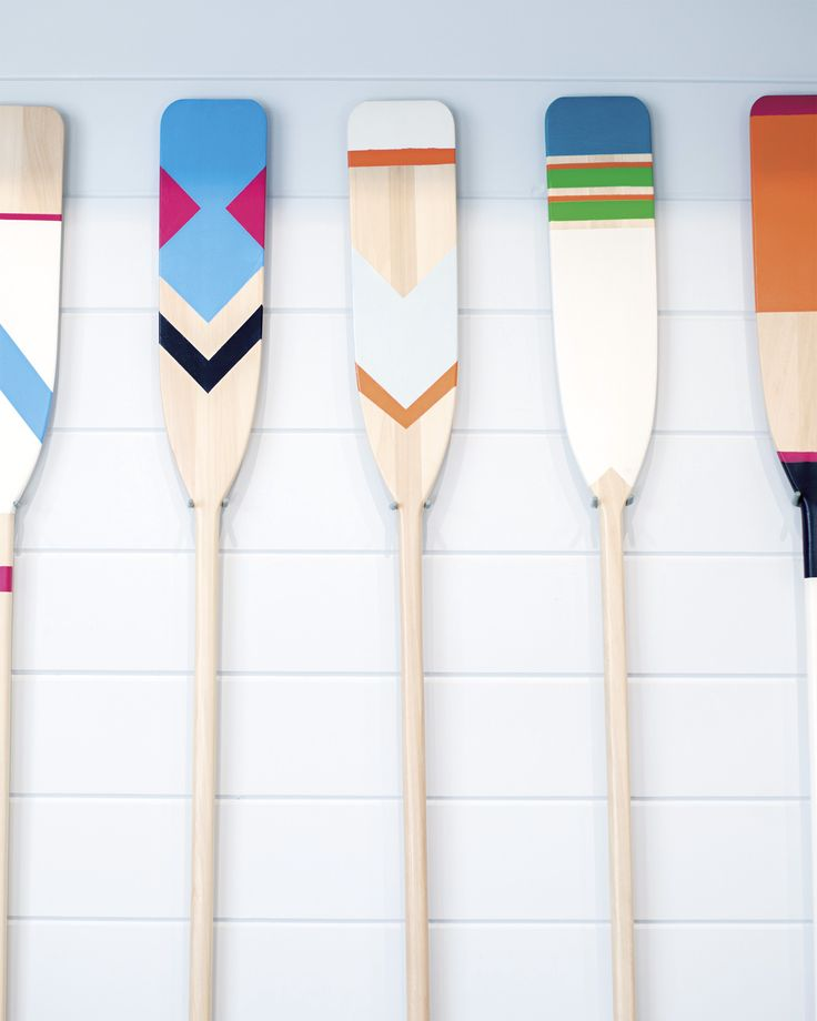 Handpainted oars by Serena Dugan at Serena & Lily's Newport Beach Design Shop