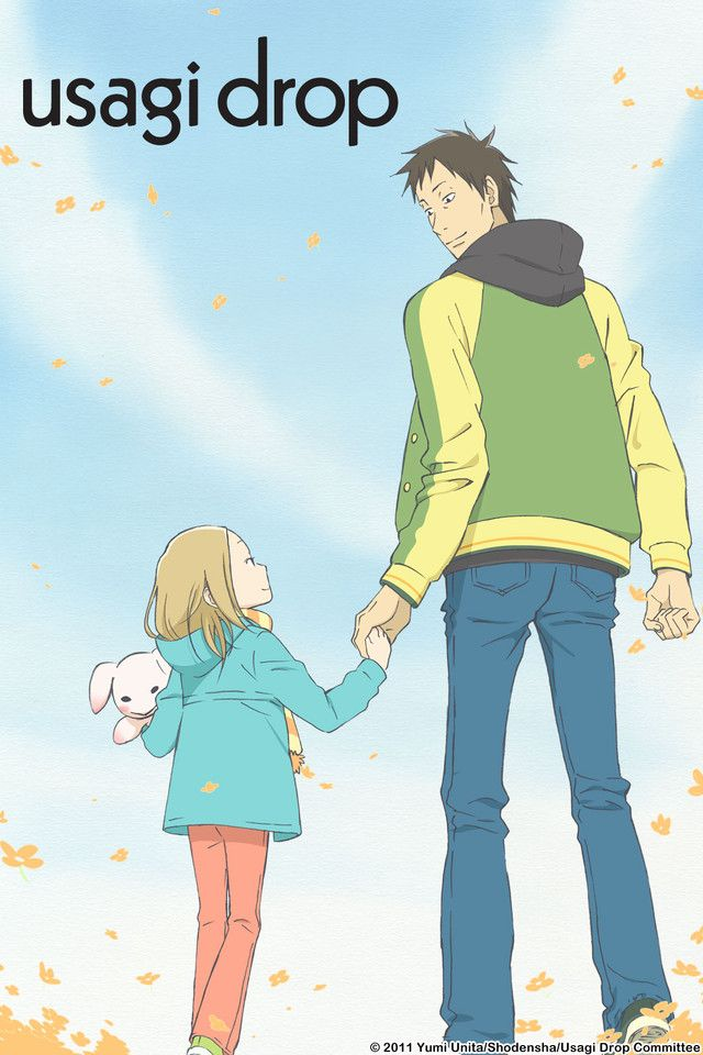 Usagi Drop is about a 30 year old guy named Daikichi who ends up taking care of his grandfather's illegitimate daughter, Rin. I liked this show for the great slice of life moments they have together and the transformation Daikichi's life goes through when faced with the reality of taking care of Rin. The anime ends at volume 4 of the manga. I was told you should not read volume 5 or it will probably destroy your image of this endearing anime.