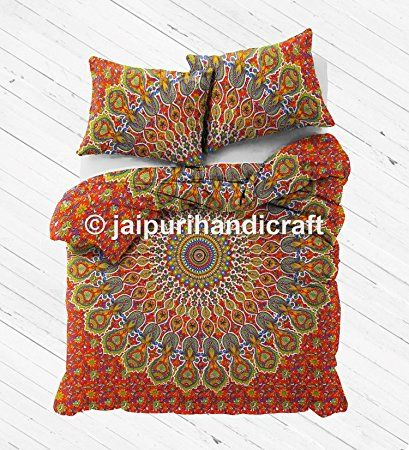 "Amazon.com: Exclusive Mandala Duvet WITH PILLOWCASES By ""MADHU INTERNATIONAL, Cotton Mandala Queen Size Duvet Cover Quilt cover: Home & Kitchen"