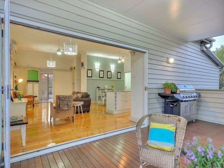 Renovated 1920's heritage listed Queenslander.  This huge 6x6 meter deck is accessed via glorious bi-fold doors from the main living area of the home and boasts lights and a fan as well as the most gorgeous views out to Cunningham's Gap and the surrounding mountain ranges.