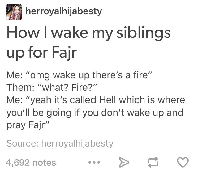 Hahhahaha Fajr jokes kill me I keep forgetting it's not just my name and an actual prayer lol