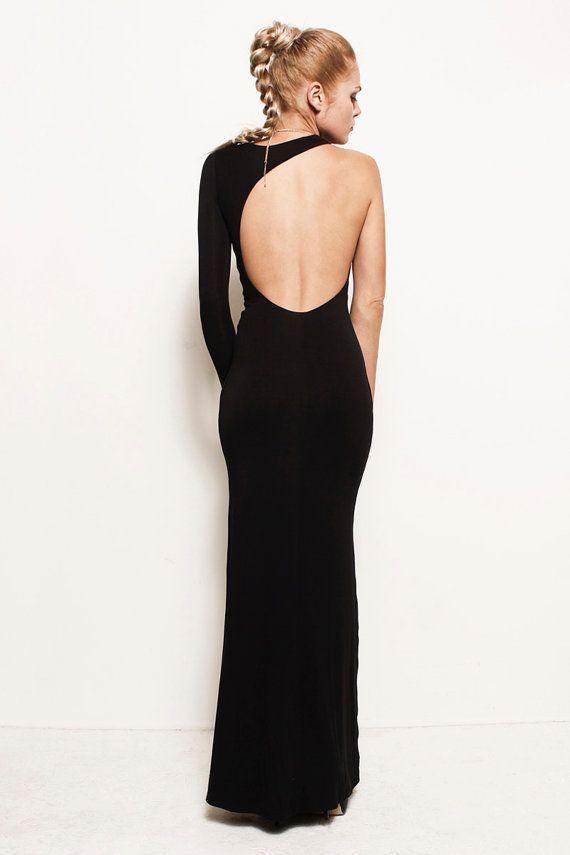 LEIGHTON  - One Sleeve Shoulder Backless Asymmetric Jersey Maxi Wedding Prom Dress Gown (Gucci, Herve Ledger, Ralph Lauren, Prada, Versace)