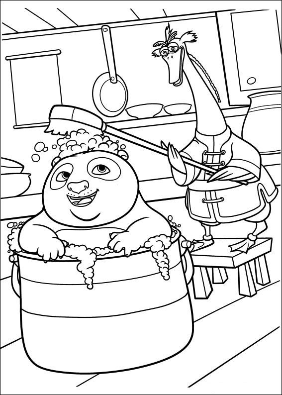 kung fu panda bathing coloring pages for kids printable free - Coloring 4 Kids