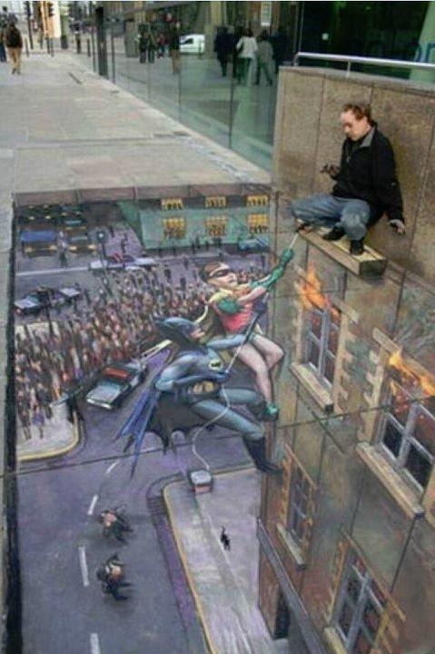 Batman sidewalk art.... I'm always amazed at sidewalk art!