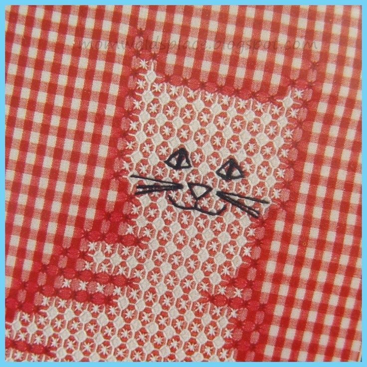 Vintage Chicken Hen Scratch Embroidery Kit Cat in Red and White Gingham. $4.49, via Etsy. DIY