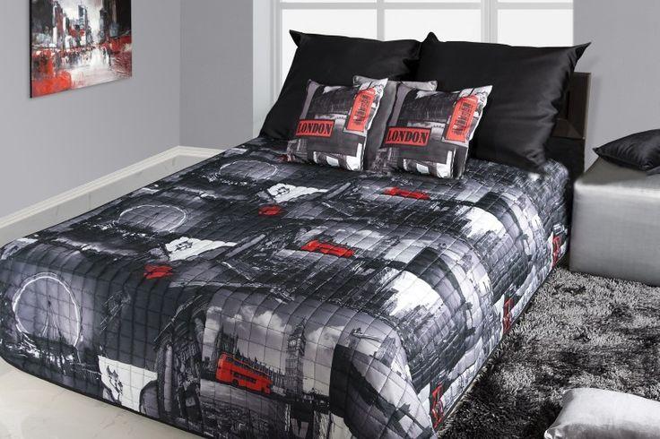 Prehoz na posteľ čierno bielej farby s motívom Londýn