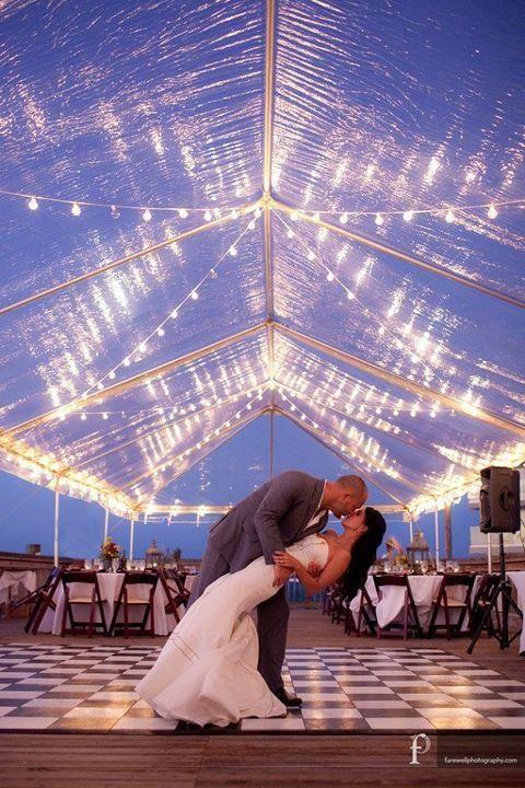 Wedding Clear Tent, market lighting, checkered dance floor, Eric Farewell Photography, Ocean Key Resort, Swanky I Do'sOrlando Wedding Planner + Orlando Wedding Designer + Florida Wedding Planner + Swanky I Do's + Key West Wedding Planner