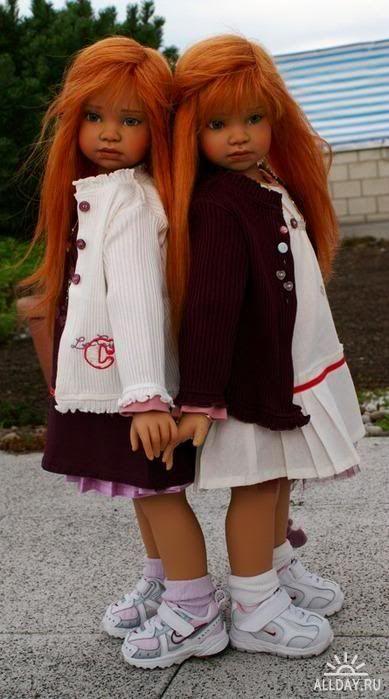 Twin girl lifelike dolls