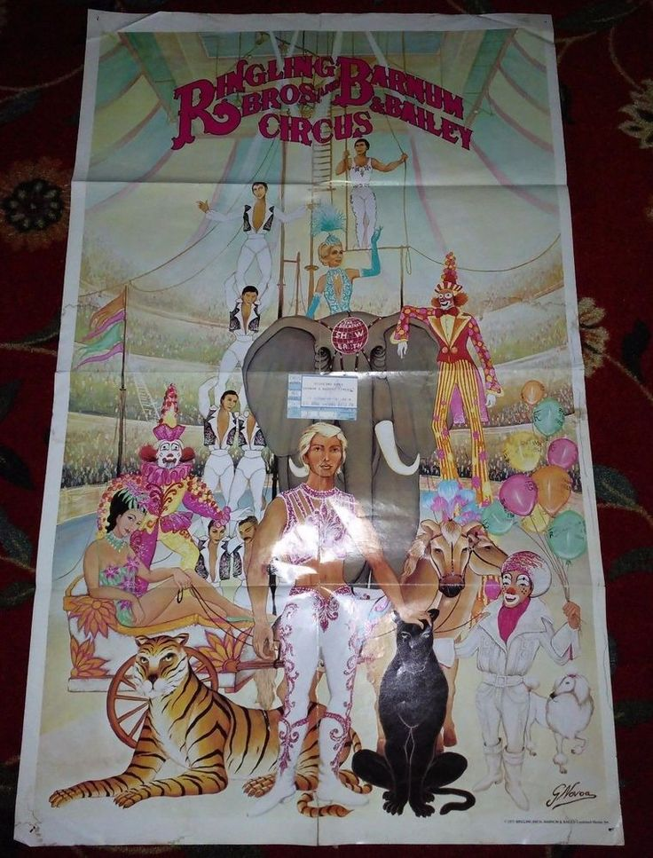 Vintage 1977 Ringling Bros Brothers Barnum Bailey Circus Poster w Ticket Stub