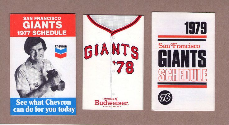 1977 & 1978 & 1979 MLB Baseball San Francisco Giants Game Pocket Schedule #sfgiants