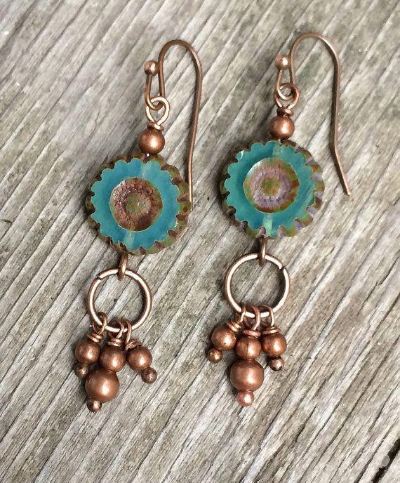 Teal blue glass flower boho earrings with copper by RusticaJewelry