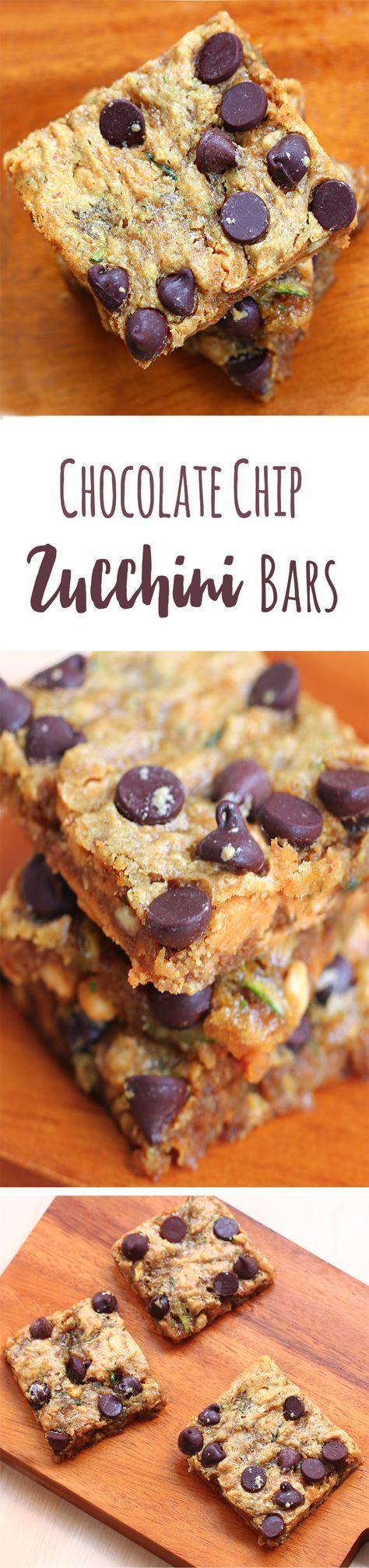 Chocolate Chip Zucchini Bars - Ingredients: 1 cup zucchini, 1/4 cup chocolate chips, 2 tsp vanilla, 1/2 tsp baking soda, 1 tbsp... Full recipe: http://chocolatecoveredkatie.com/2014/11/03/chocolate-chip-zucchini-bars/ @choccoveredkt