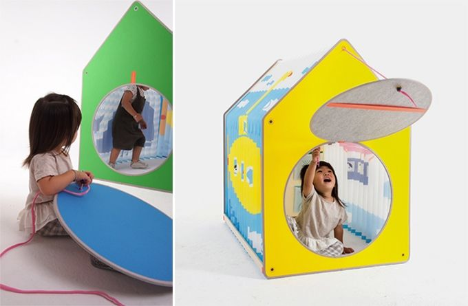 Accordion Play House-a foldable playhouse for small spaces removable circle door