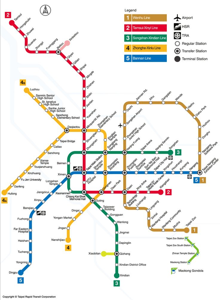 MRT: Taipei metro map, Taiwan The Taipei metro, known as MRT, is the first and only system in Taiwan. Opened in 1996. It serves the capital of Taiwan and its 2.7 million inhabitants. It consists of 5 lines serving 117 stations, plus two shuttles. The total length of the system is 131.1 km. The metro is operated by Taipei Rapid Transit Corporation (TRTC). MRT is used daily by almost 2 million people and annually by more than 630 millions (2013) #taipei #metro #map