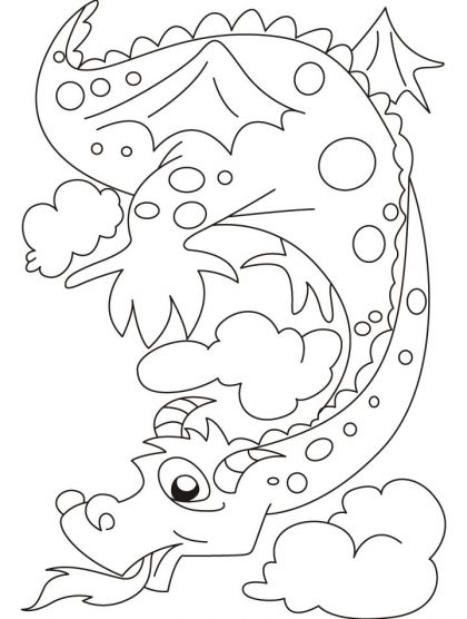 The fire emitting dragon bewares of it coloring pages