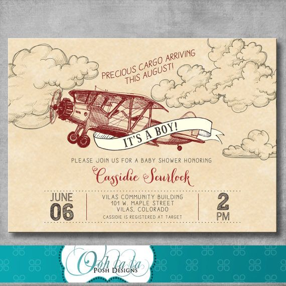 Vintage Airplane Baby Shower Invitation - Retro - Baby Boy Shower - Red - Birthday - Printable - Customizable - Digital - DIY - Invite