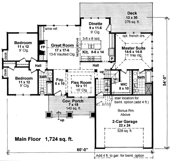 This one story house plan gives you over 1 700 square feet for One story house plans with bonus room