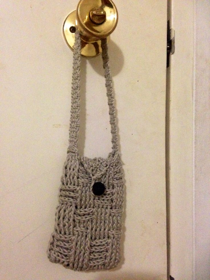 Basket weave bag. In bamboo and cotton yarn