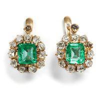 Um 1900: Antike Smaragd & Altschliff Diamant Ohrringe, 750 Gold Emerald Earrings