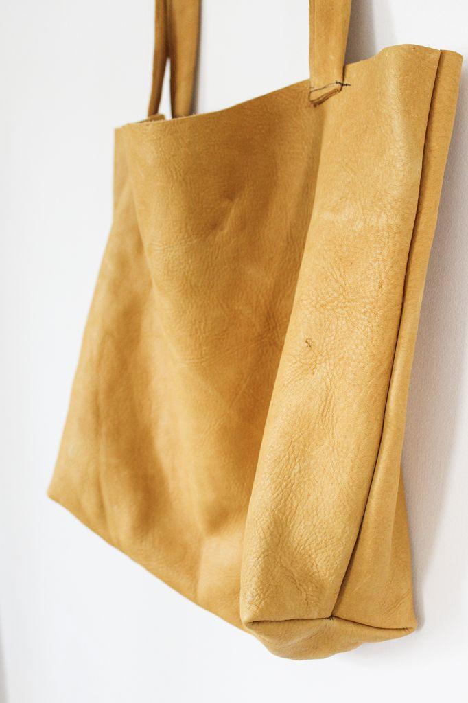 DIY Leather Tote   cladandcloth.com