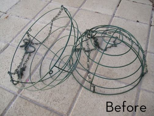 """Great idea for Christmas. Thinking of making and hanging these around our porch! """"How to Turn Wire Baskets into a Fairy Light Globe."""""""