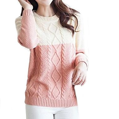 Women's Fresh Contrast Color Twist Round Collar Knitwear Sweater –  ¥2,174 →¥ 1,304